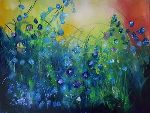 Abstract Flowers Flax - $795