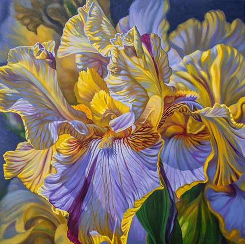 Floralscape 2: Mauve and Yellow Irises
