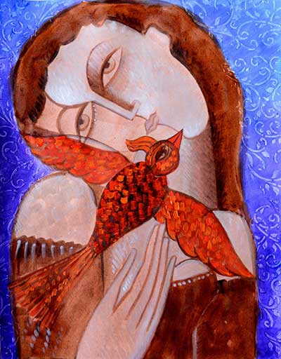 Girl with Red Bird - $325