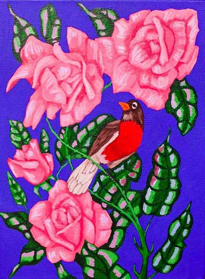 Robin and Roses - $65