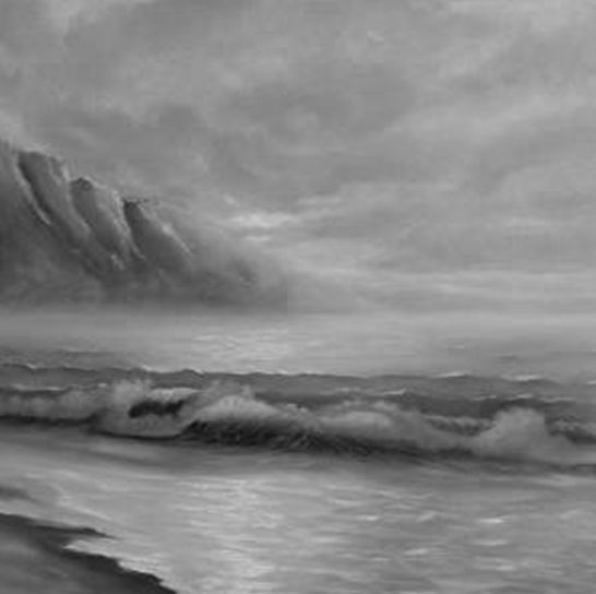 Painting of ocean landscape