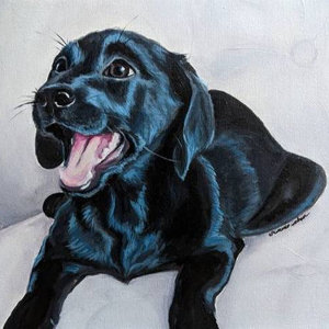 Acrylic painting of a puppy